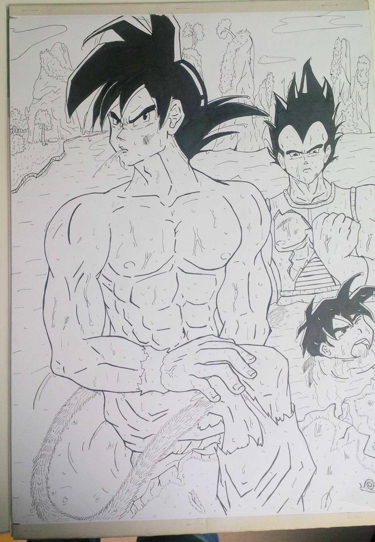 Goku , kid Gohan and Vegeta by arschra