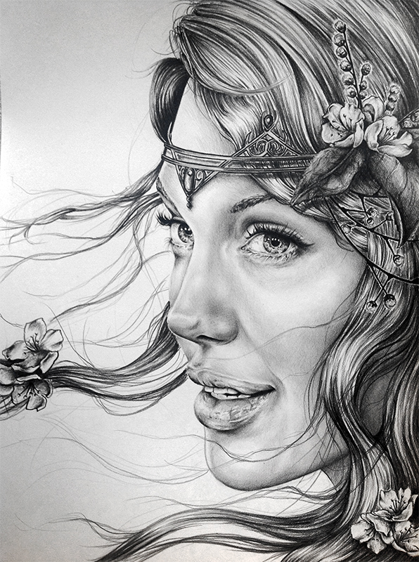 Beautiful Face Line Drawing : Blodeuwedd by ashtoreth on deviantart