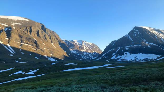 Mountain range at sundown