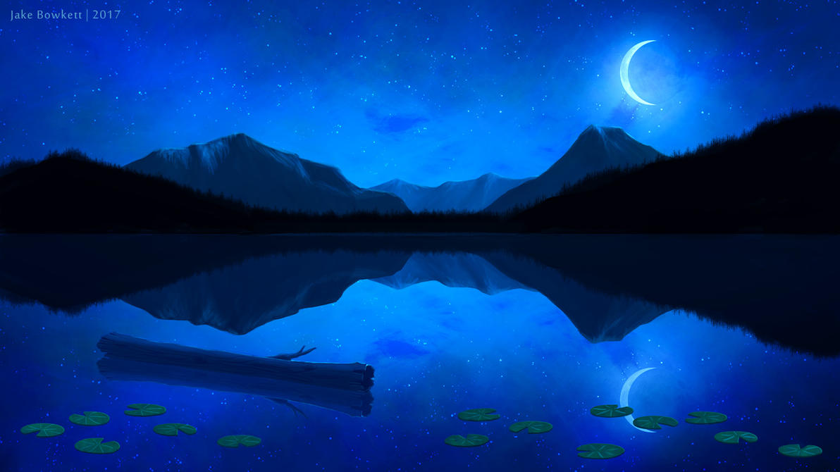 Moonlit Lake by JakeBowkett