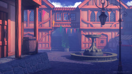 Fantasy Town Plaza by JakeBowkett