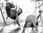 Tarbosaurus y Saichania