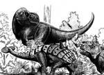 Tyrannosaurus y Euplocephalus