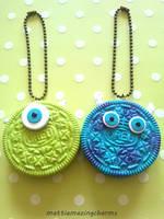 Polymer Clay Monsters Inc Oreo BFF Key Chains! by mattiemazingcharms