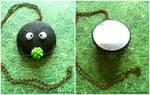 Handmade Polymer Clay Soot Sprite Mirror Necklace!
