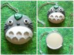 Handmade Polymer Clay Totoro Mirror Necklace!