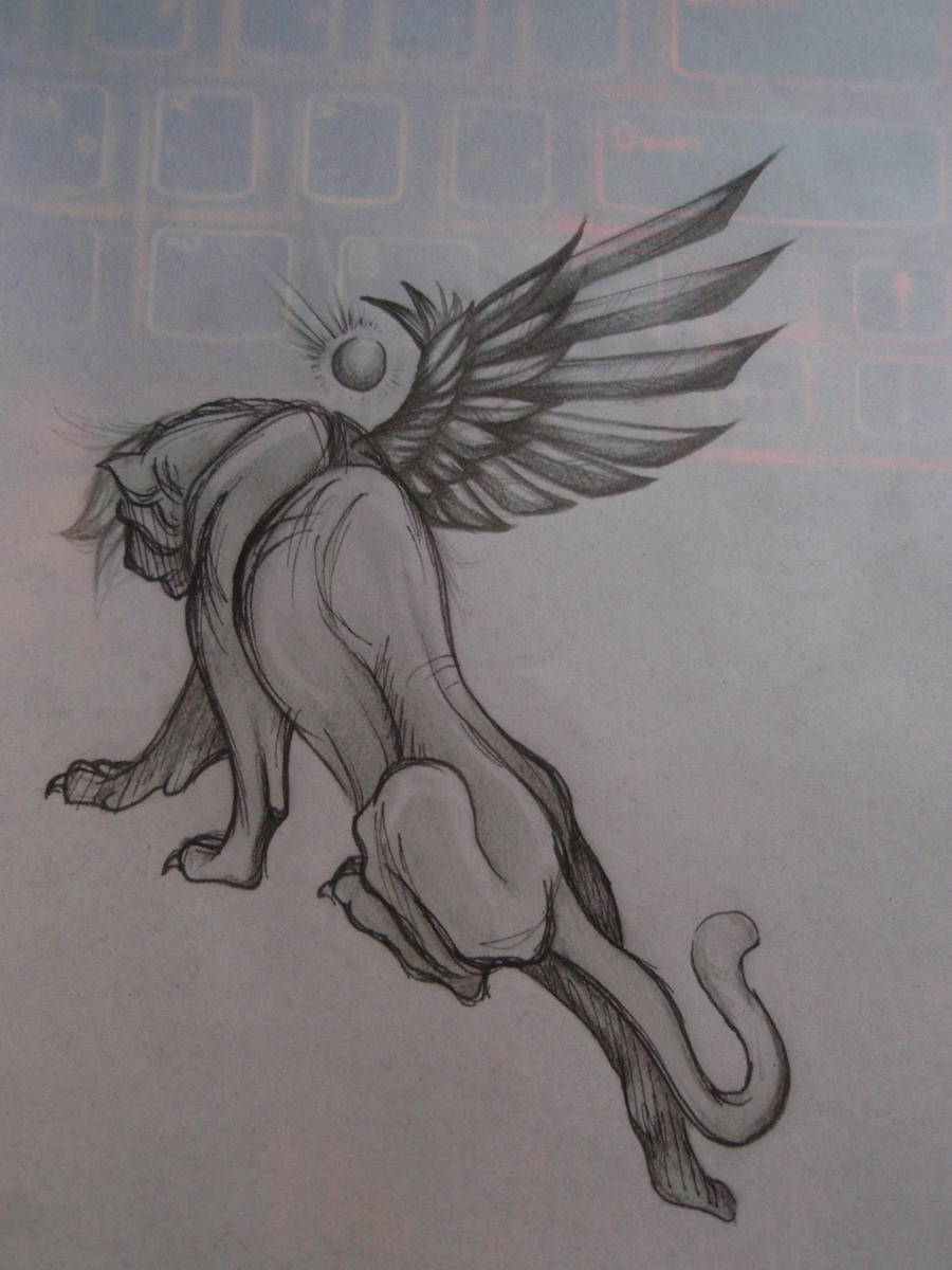 Winged Lion Sketch by Elliesmeria