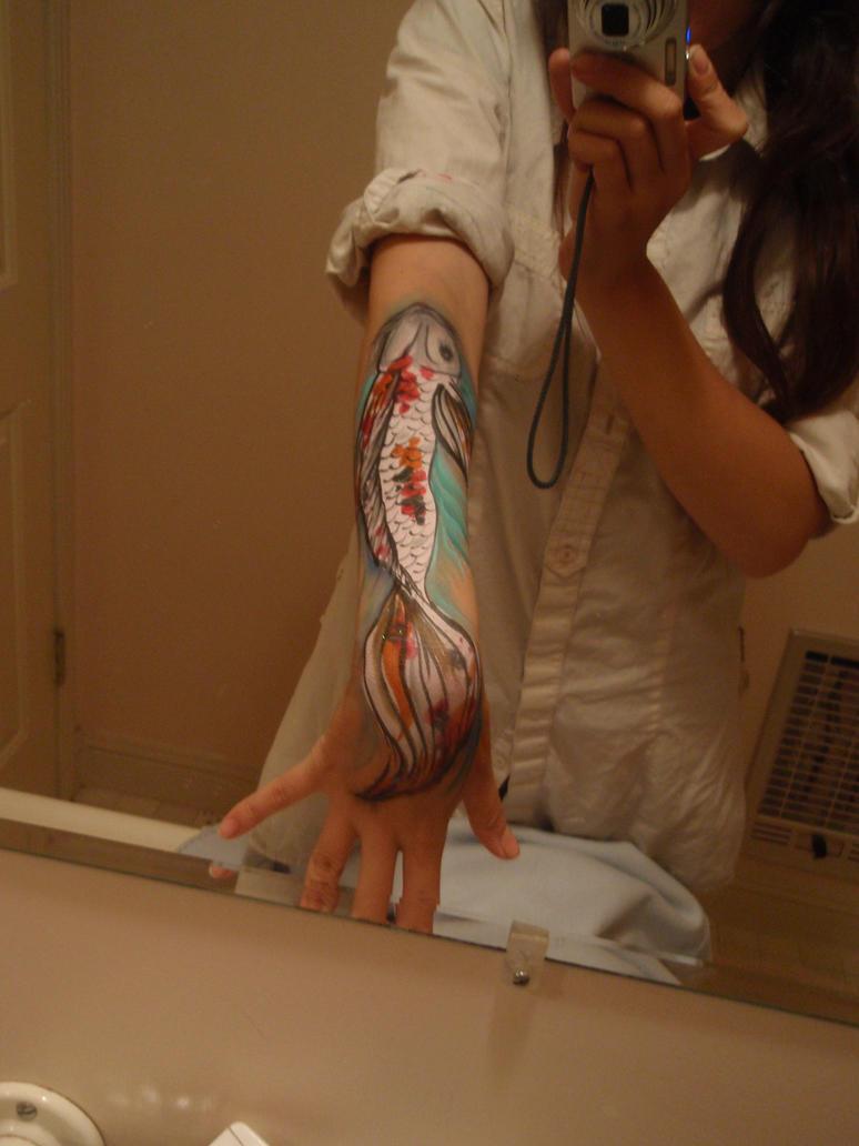 Koi Fish Arm Painting by Elliesmeria