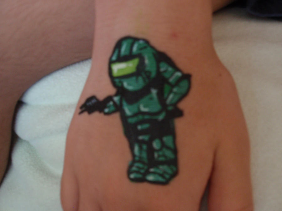Master Chief Hand Painting by Elliesmeria