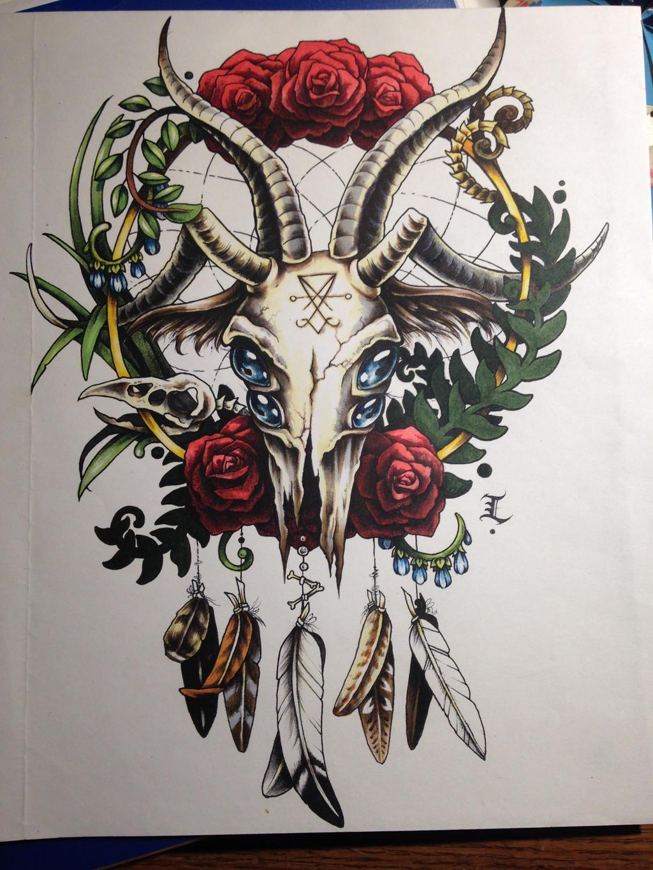 Goatskull Dreamcatcher by Elliesmeria