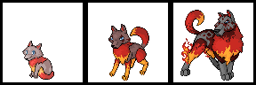 Pokemon Sprite Fake Fire Wolf by shadixART