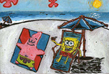 SB and Pat at the beach by Somebody-1