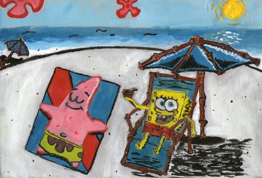 SB and Pat at the beach