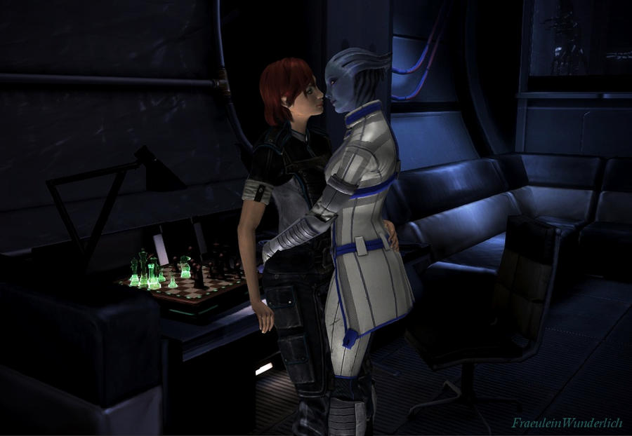 Liara visits Shepard in her cabin by FraeuleinWunderlich