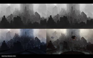 Futuristic city - Painting process steps ! by NibelArt