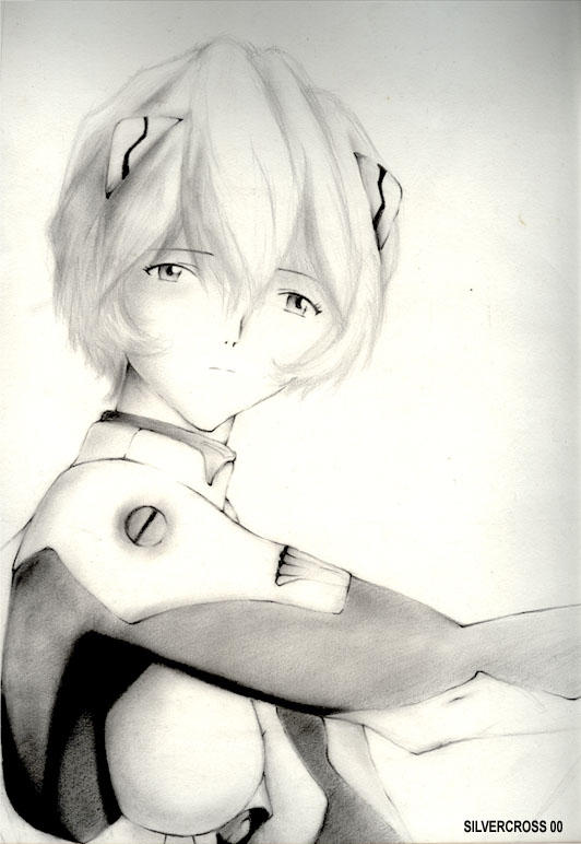 rei ayanami on charcoal by silvercross00