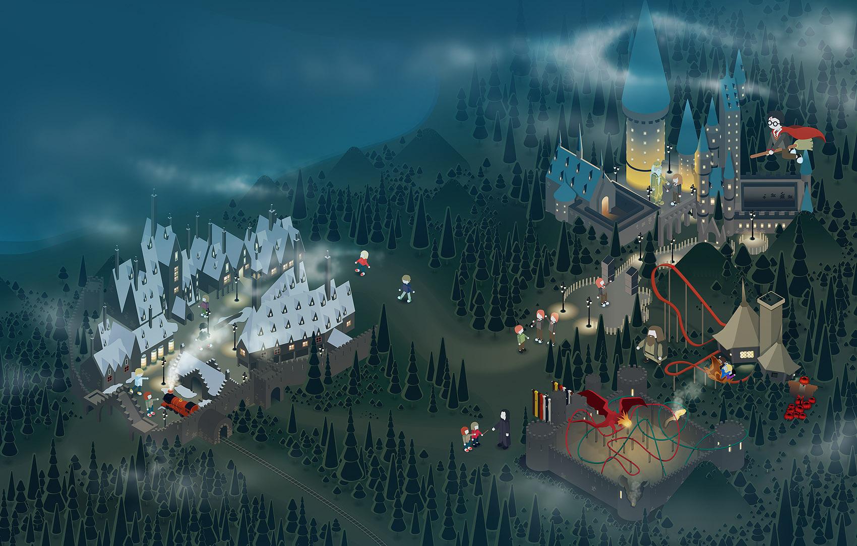 Universal Harry Potter Park magazine ilustration by dchan