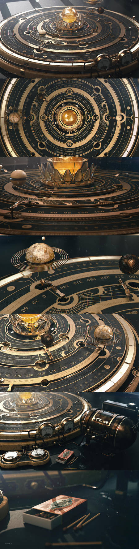 Steampunk Astrolabe Orrery Table