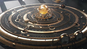 Steampunk Astrolabe/Orrery Table Close-up 1