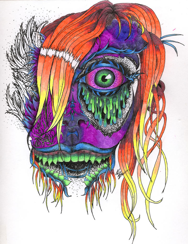 psychedelic face by tyrien on deviantart