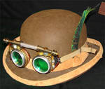 steampunk goggles on derby
