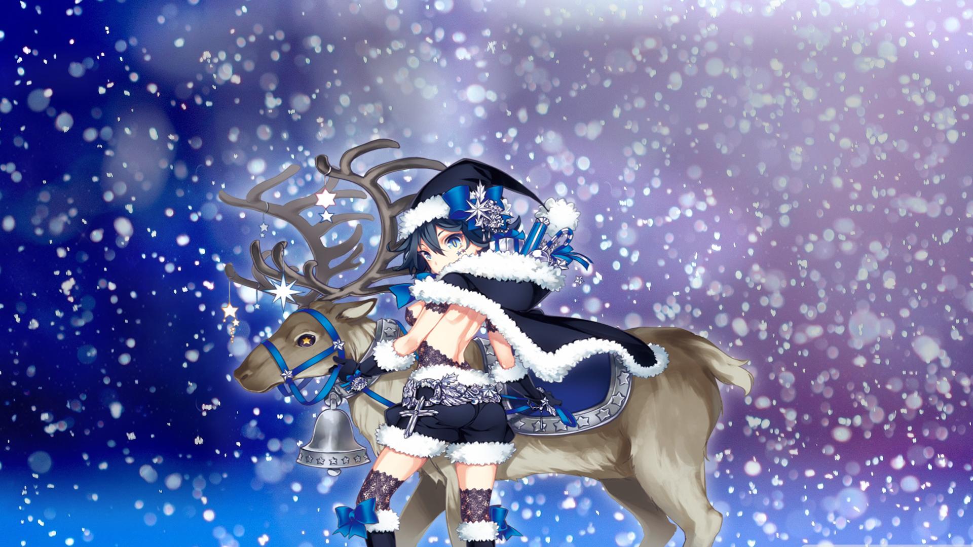 Blue Anime Girl Christmas Wallpaper By Callmeteddy