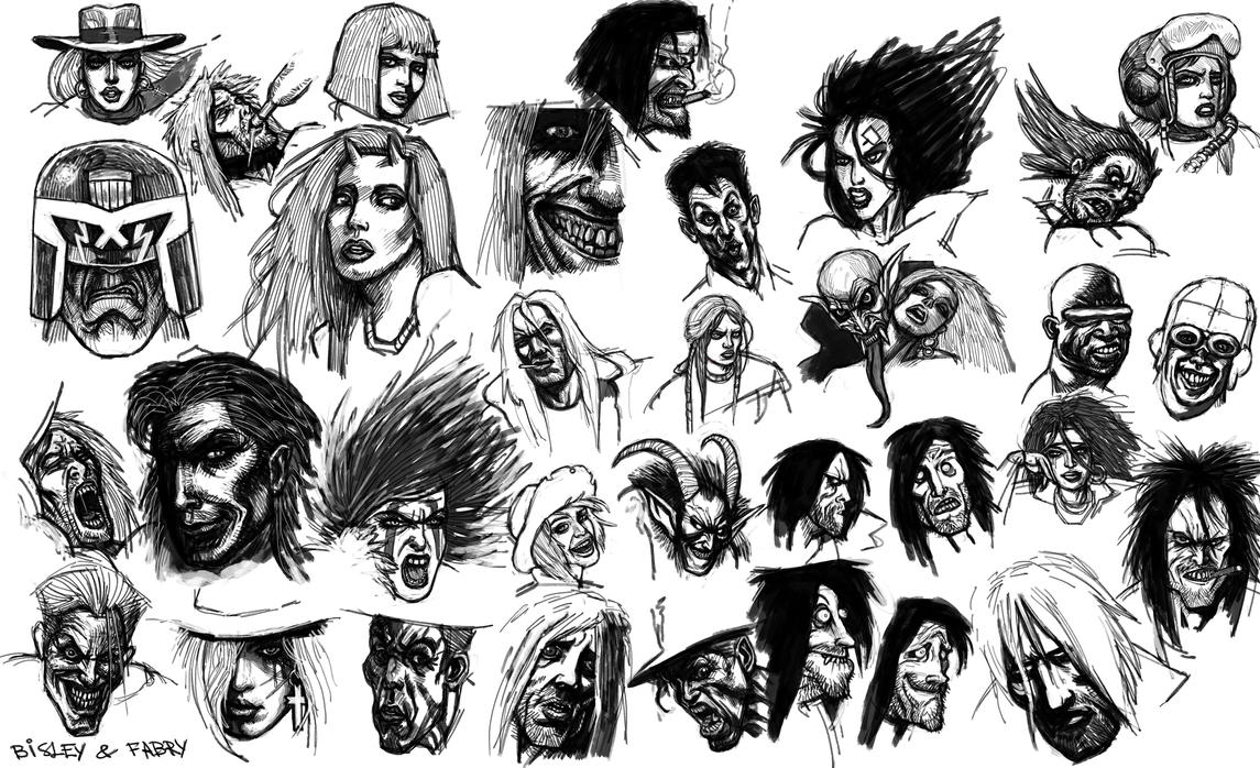 Bisley and Fabry Faces Studies by Snoardur