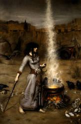 Study - Magic Circle by John William Waterhouse