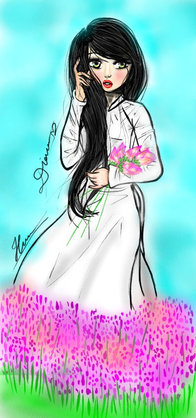 193 o d 224 i t t m ao dai vietnam and lotus by chuotmickey1990 on