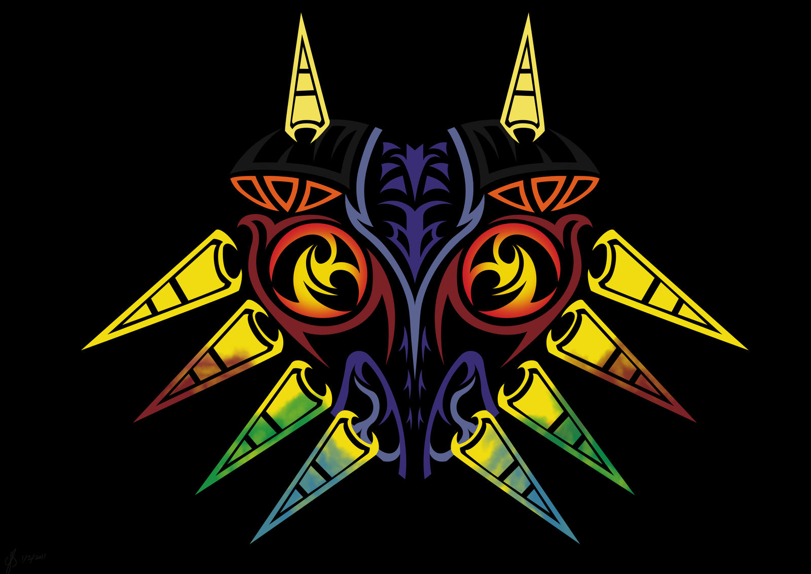 Majoras Mask Tribal Colour