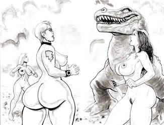 Nude Beach Dino Encounter by icejaw19