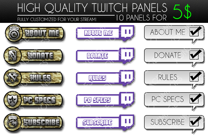 Twitch Panels for Sale - 5$ by XONSOLE