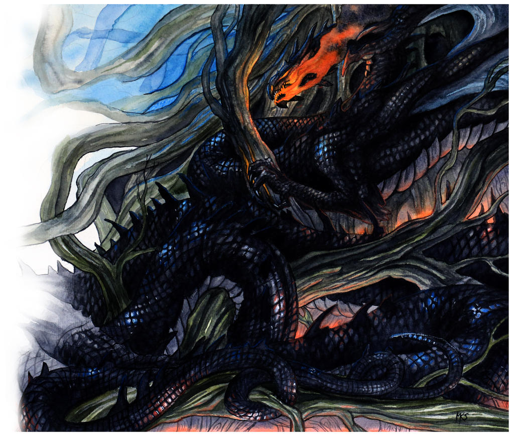 Nidhogg Damaging Yggdrasil by Hvitfrost on DeviantArt