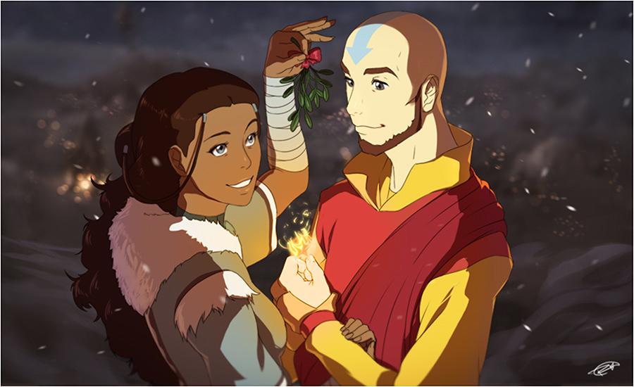 Merry Christmas! Katara x Aang by Artipelago