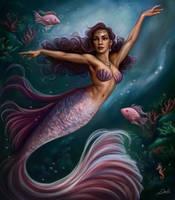 Purple Mermaid by Dim-Draws