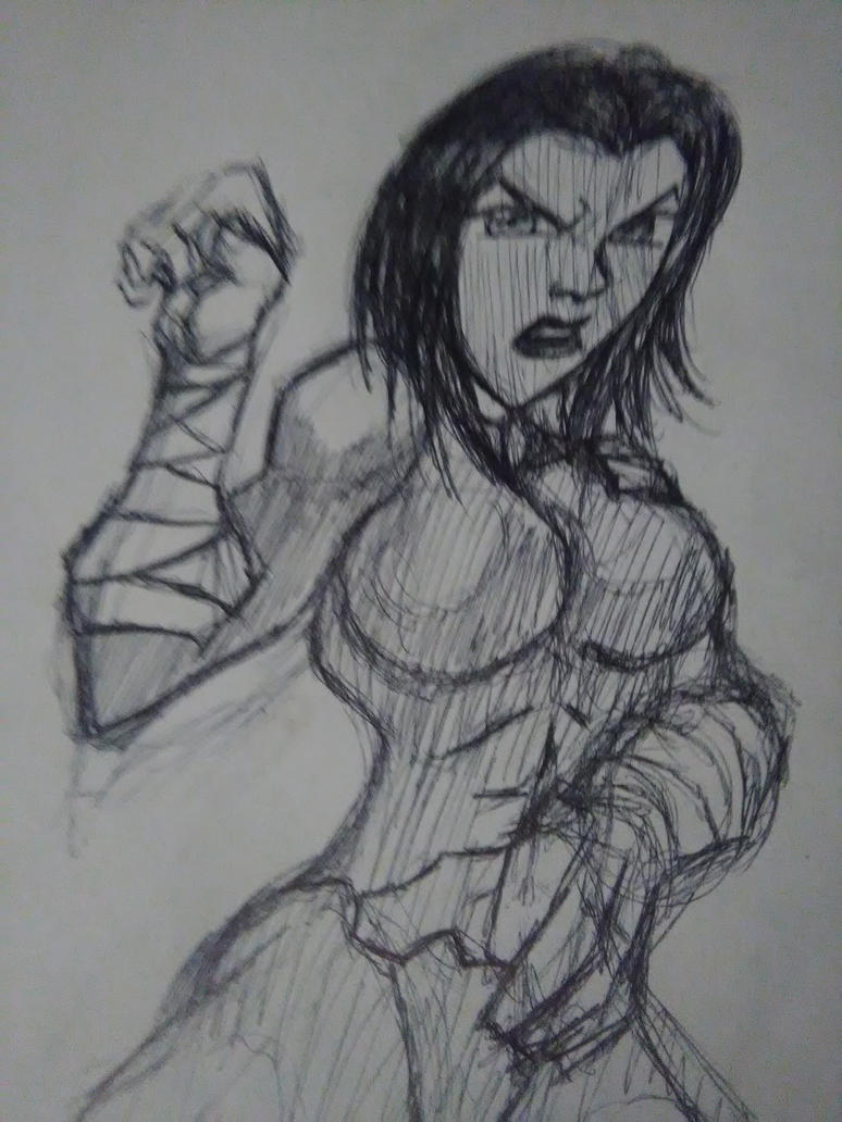 Female fighter sketch by livewraith
