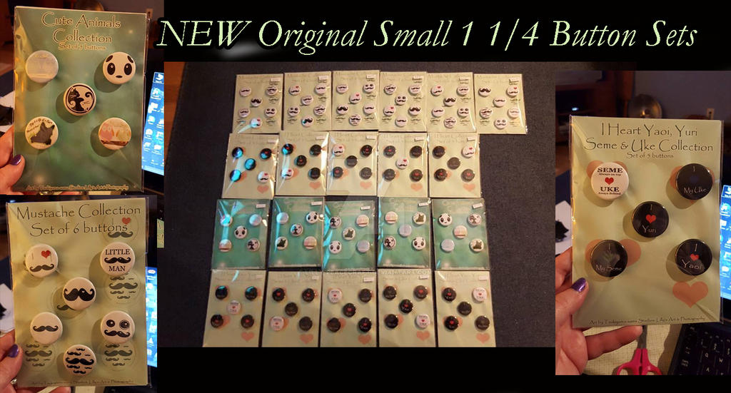 NEW Original Small 1 1/4 Button Sets by lilly-peacecraft