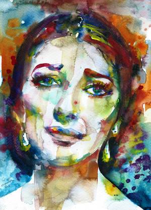 MARIA CALLAS - watercolor portrait.2 by superlautir