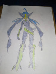 Aida's superheroine outfit concept art.
