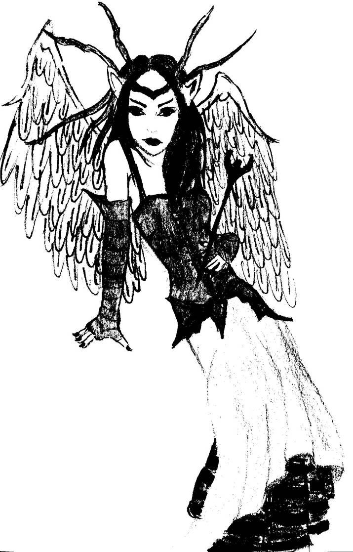Horned Fairy - Black and White