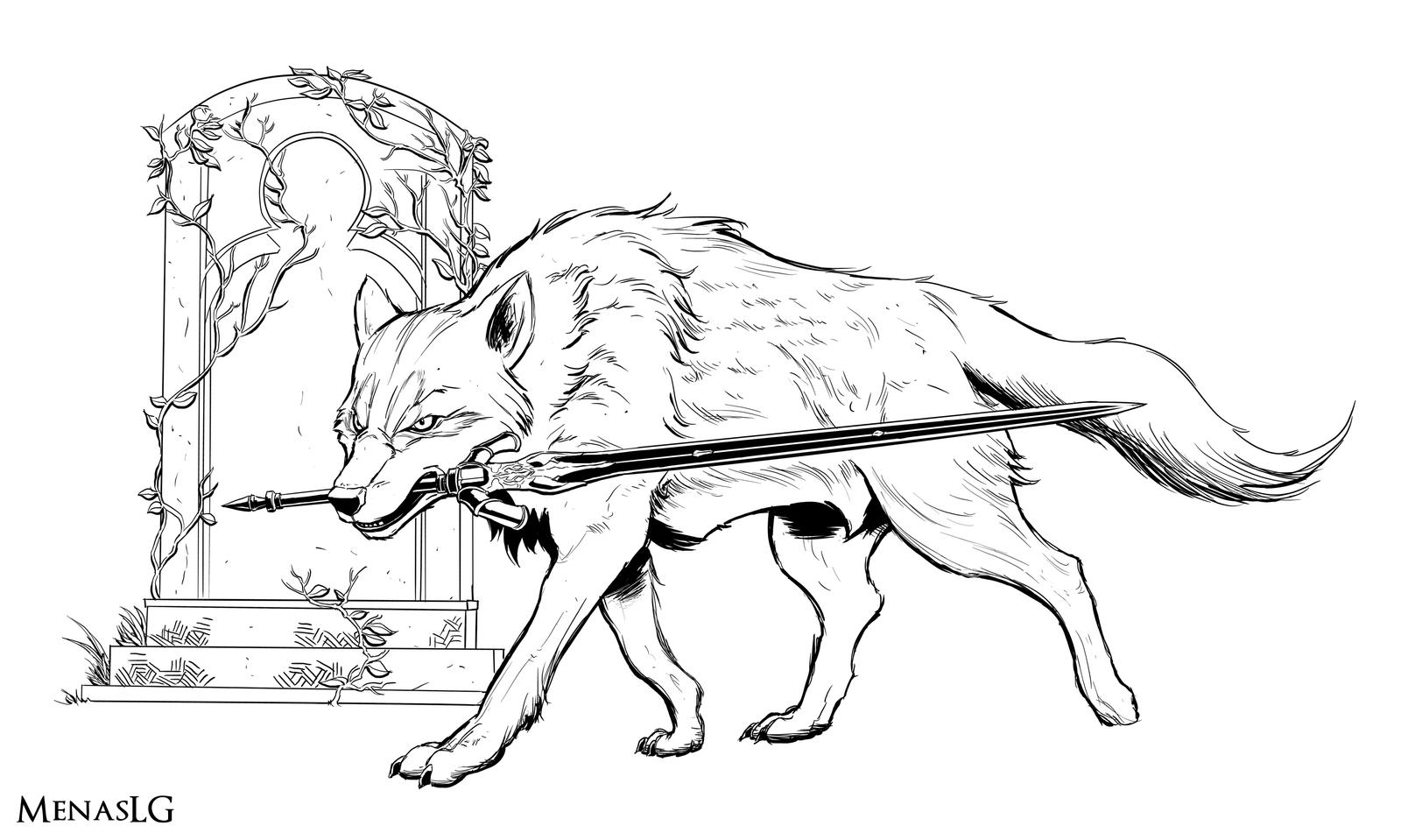 Dark souls great grey wolf sif by menaslg on deviantart for Grey wolf coloring pages