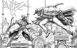 Bloodborne: Father Gascoigne vs the Good Hunter by MenasLG