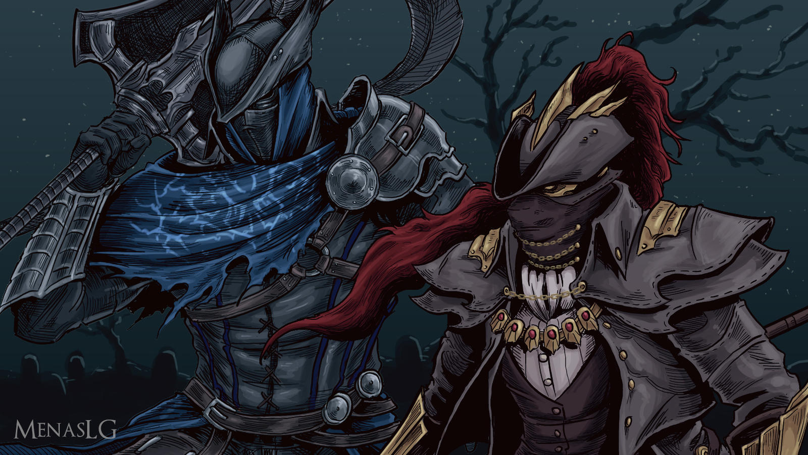 Dark Souls / Bloodborne: Artorias and Ornstein by MenasLG