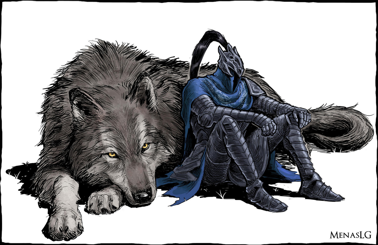Dark Souls: Artorias and Sif by MenasLG