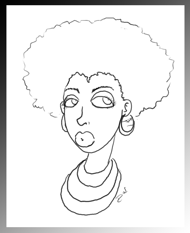 AfroCute-Lineart by venonded