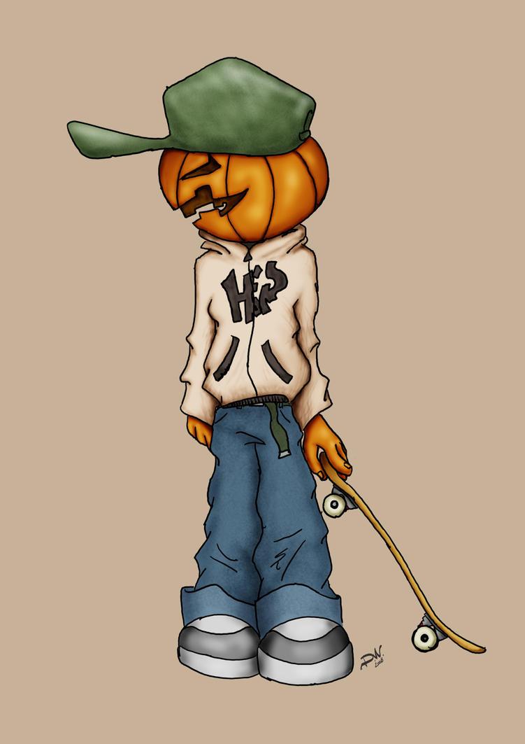 PumpkinHeadSK8 by venonded