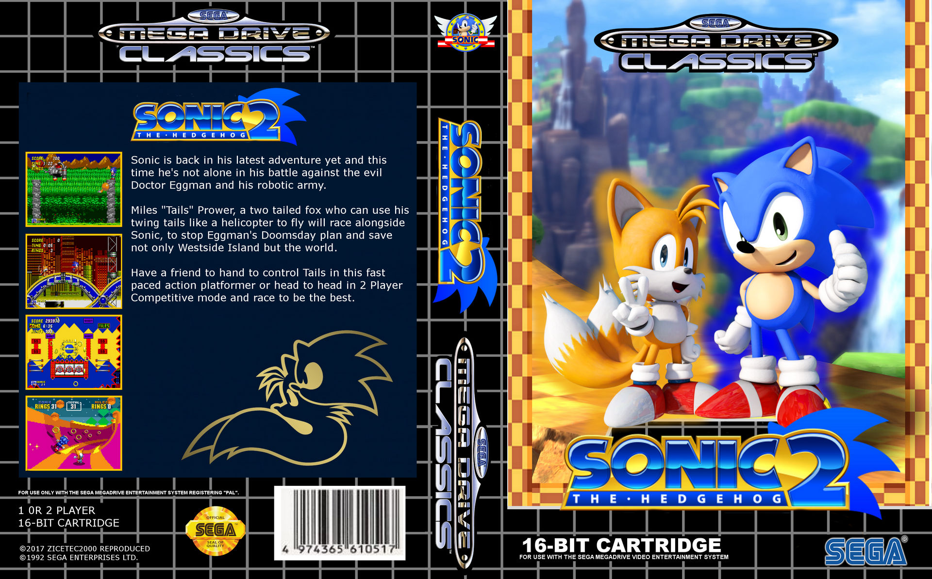 Modernized Sonic The Hedgehog 2 Mega Drive Box By Zicetec2000 On Deviantart