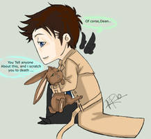 Bunny Dean enjoys cas hugs by Supernatural-Fox