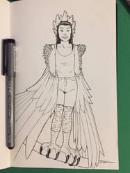 Inktober 2018 Day 1: Harpy by Jaebird88