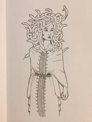 Inktober 2018 Day 17: Medusa by Jaebird88